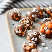 Healthy Halloween Brownie Bites close up for intagram