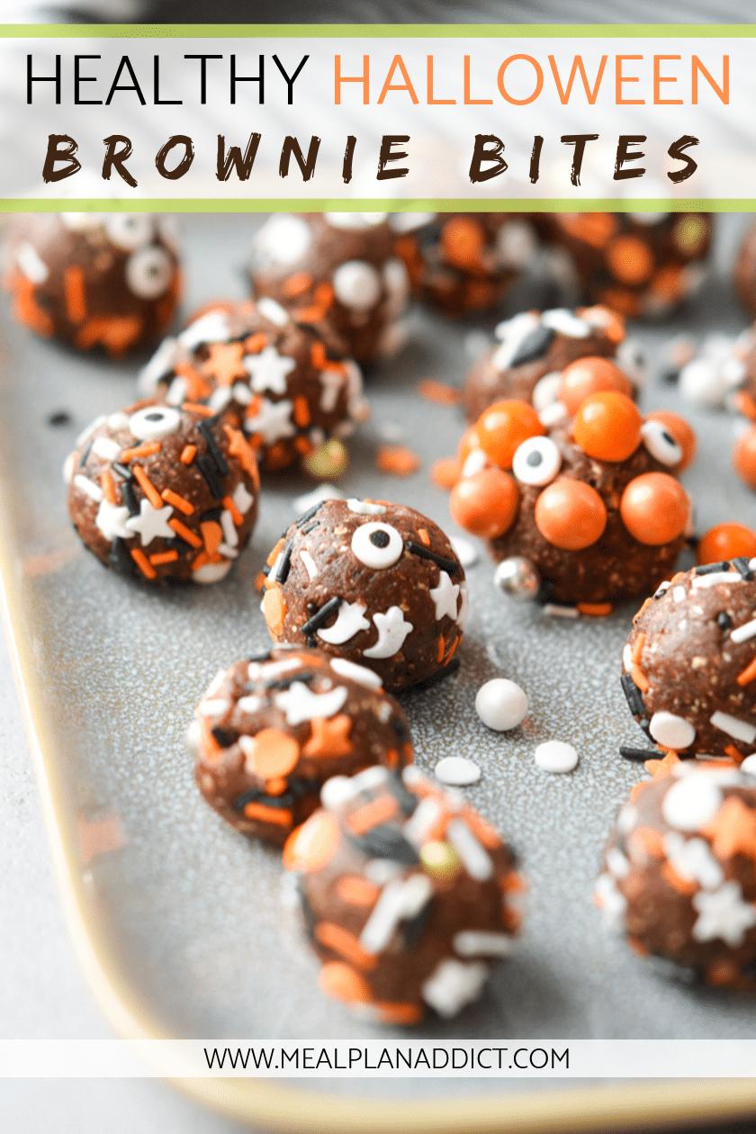 healthy Halloween brownie bites close up pinterest pin