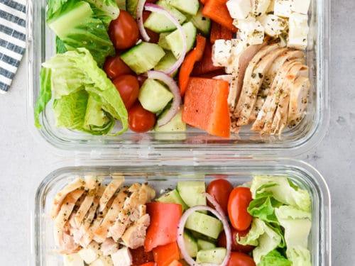 Mediterranean Chopped Chicken Salad Meal Prep Meal Plan Addict