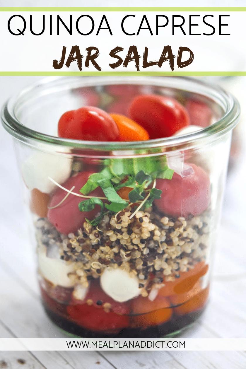 Quinoa Caprese Mason Jar Salad