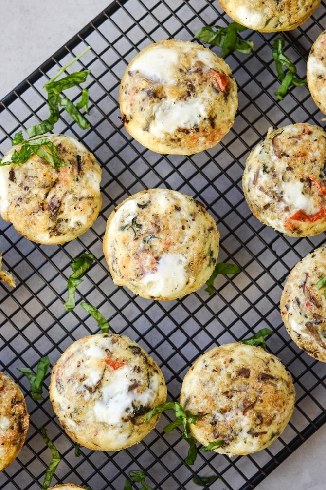 Quinoa Scramble Breakfast Muffins on cooling rack