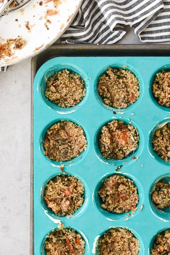 Quinoa mixture in muffin tin