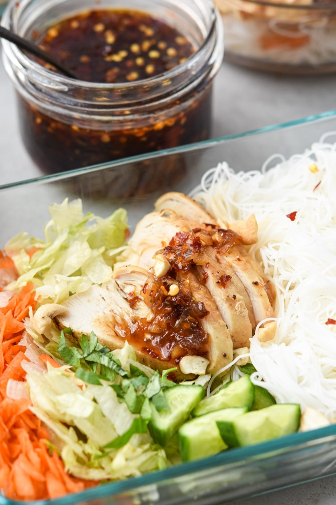 Sweet Chili Chicken Vermicelli Meal Prep Bowls finished