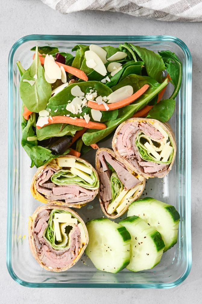 flatlay lunch box kit with beef pinwheel