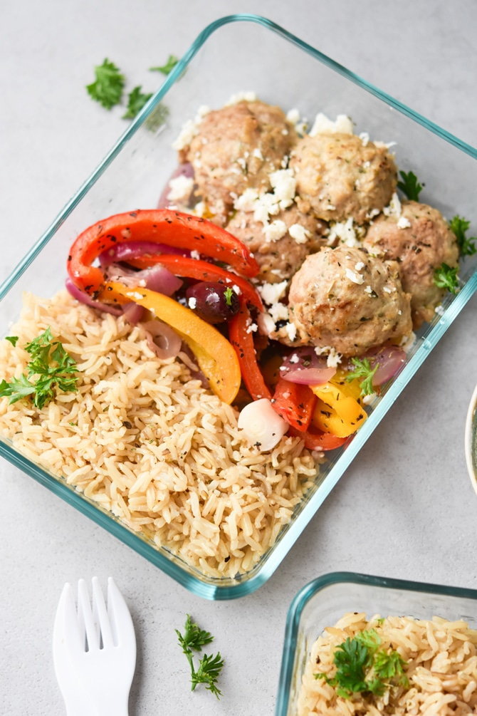 Greek meatball meal prep in containers