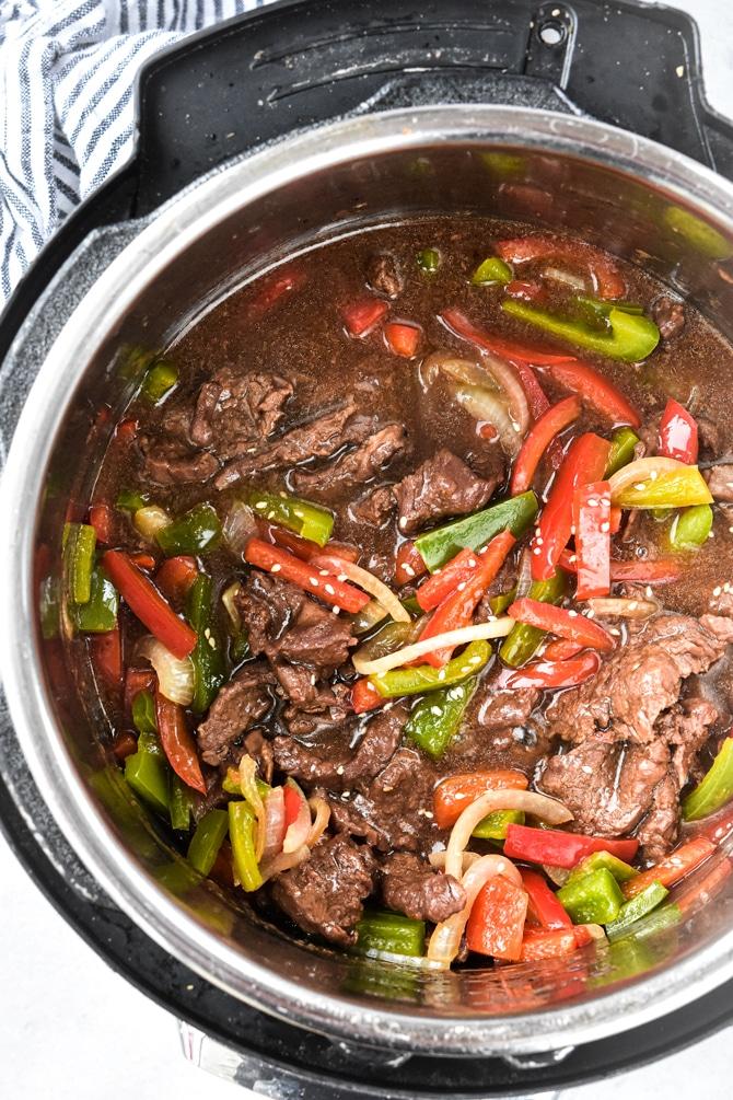 Instant Pot Pepper steak in instant pot after cooking