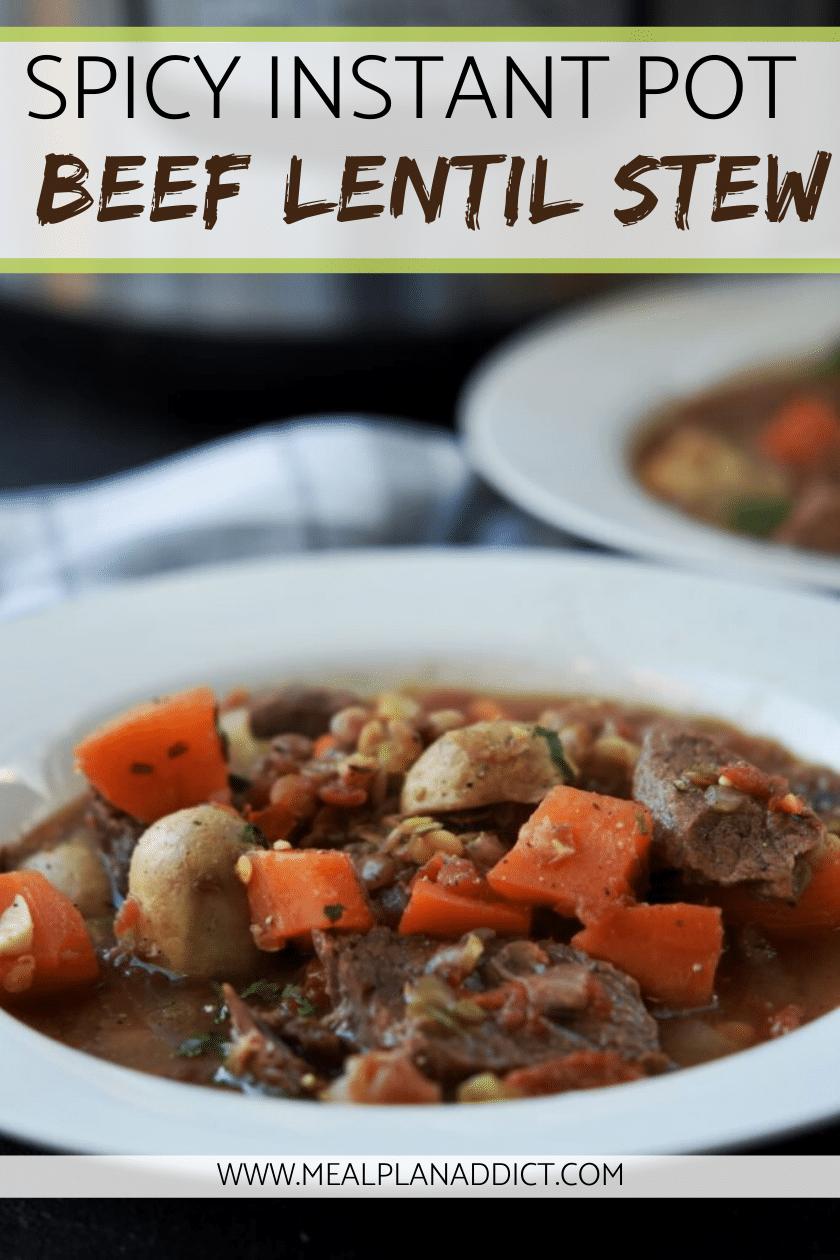 Spicy Instant Pot Beef Lentil Stew