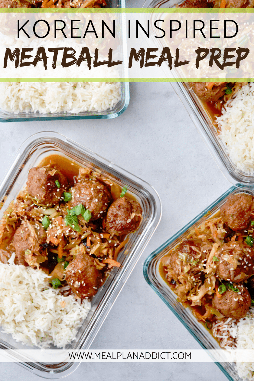 korean inspired meatball meal prep containers