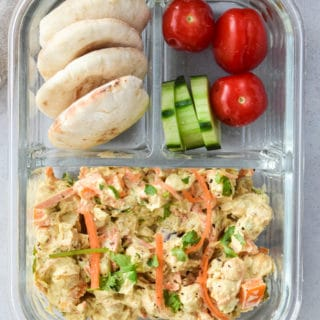 Curried Chickpea salad in bento box