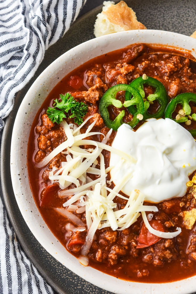 Instant Pot Sneaky Veggie Chili in a bowl