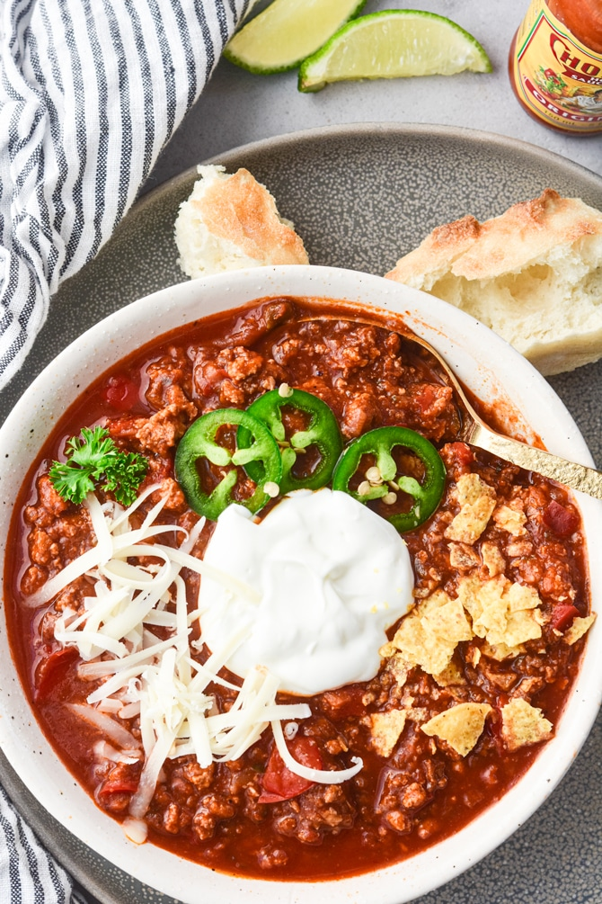 Instant Pot Sneaky Veggie Chili in bowl with garnish