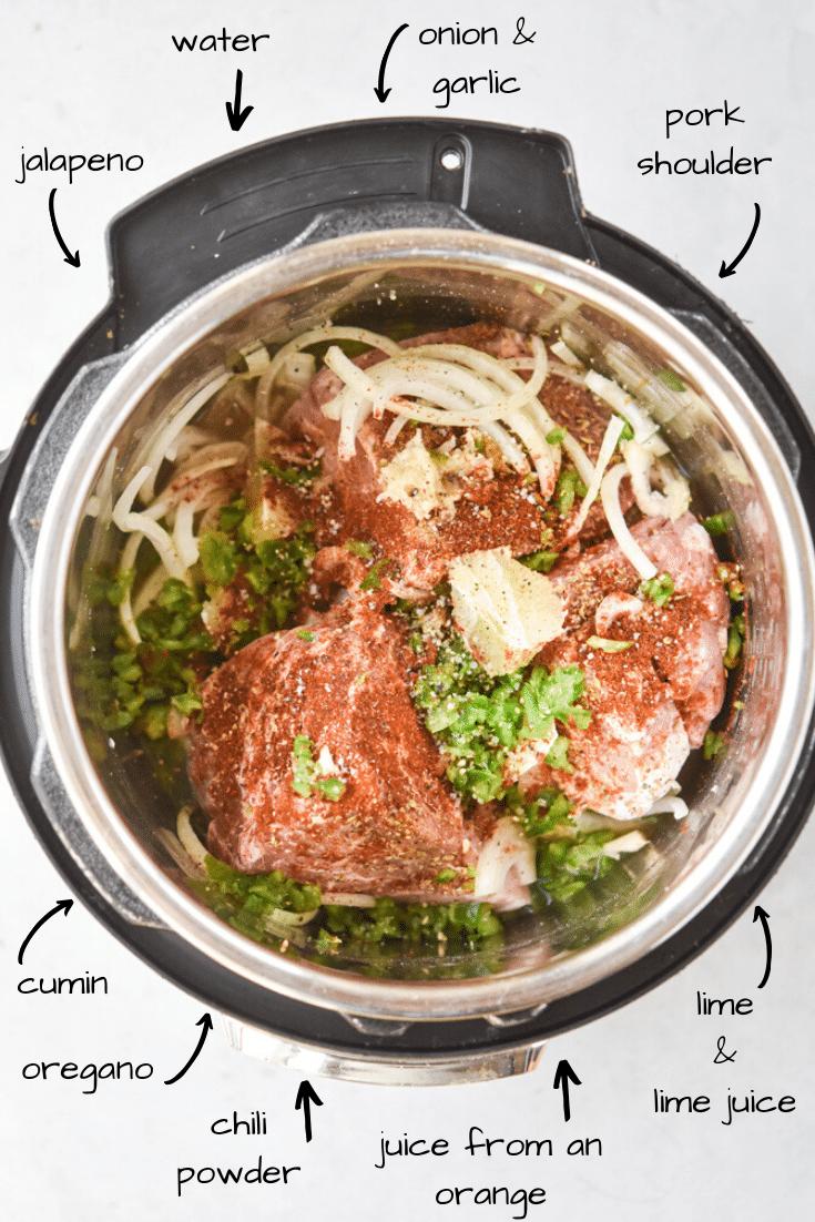 Instant Pot carnitas ingredients