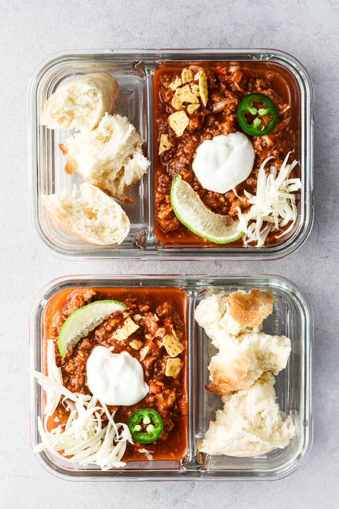 Sneaky Veggie Chili in meal prep containers