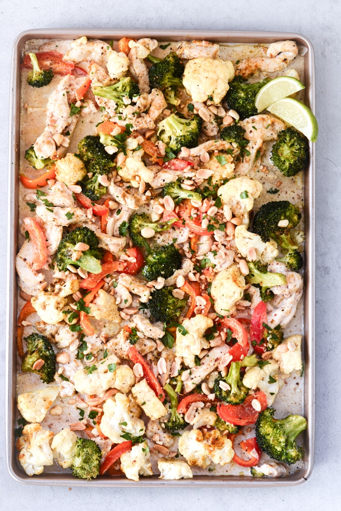 peanut curry chicken baked on sheet pan