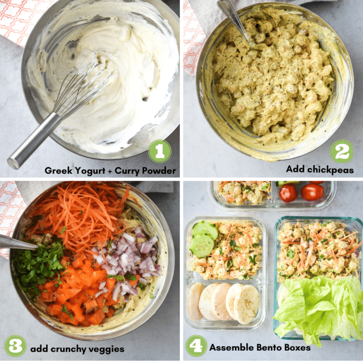 process to make curried chickpea salad meal prep