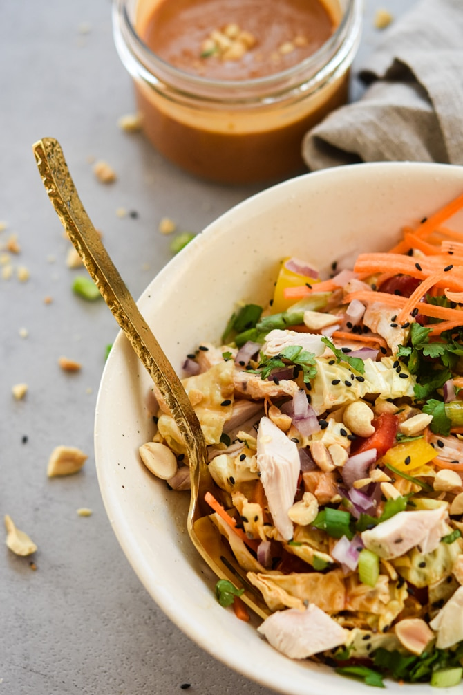 asian chopped chicken salad plated in bowl