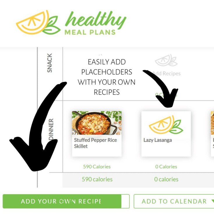 _healthy meal plans - add own recipe