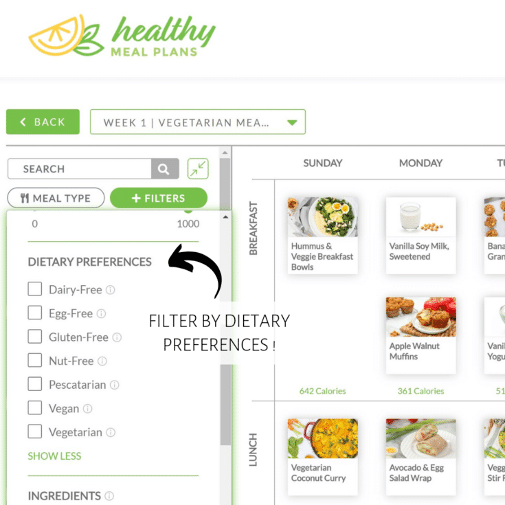 healthy meal plans - filter by dietary restrictions