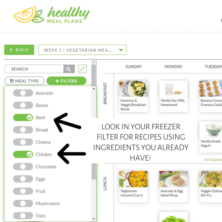 _healthy meal plans - filter by ingredients you have