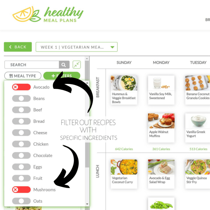 healthy meal plans - filter out ingredients