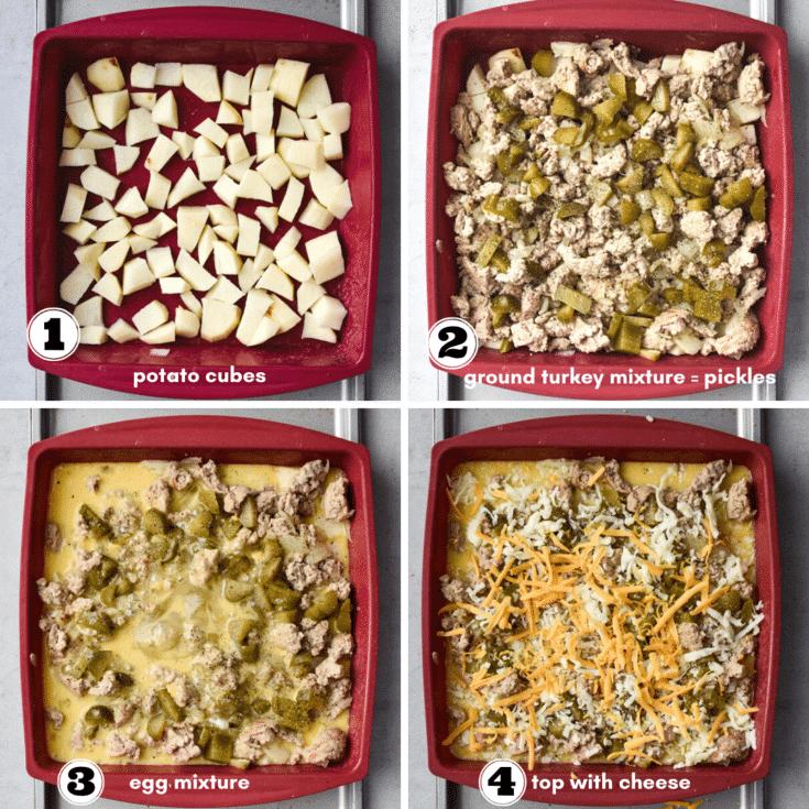 how to assemble cheeseburger breakfast casserole