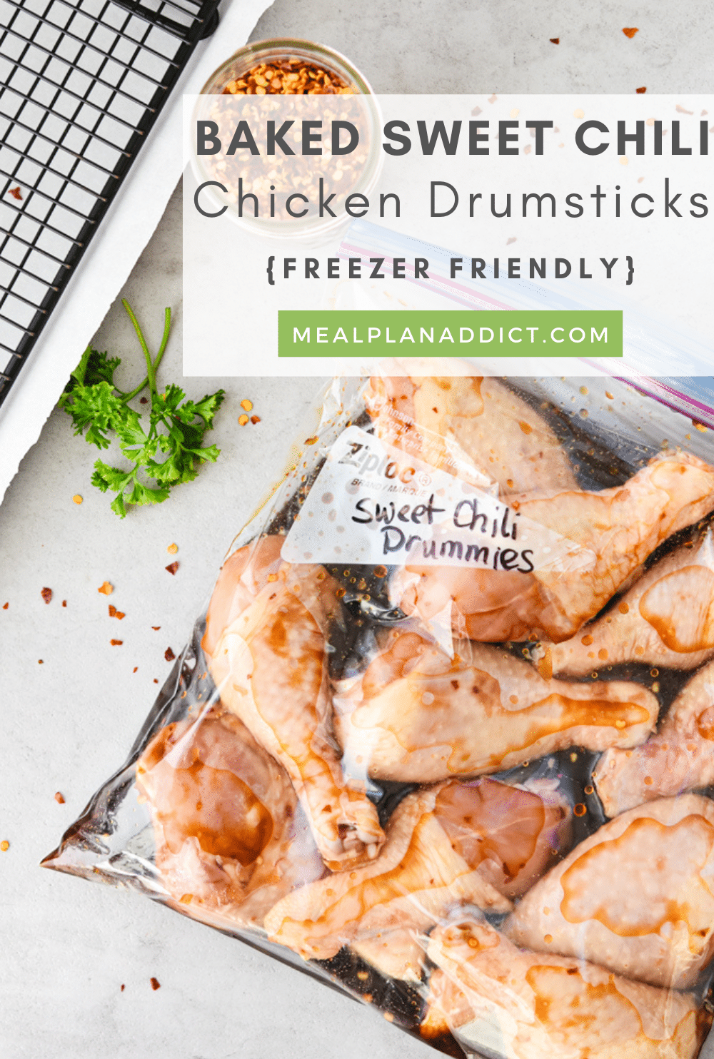 Freezer Friendly Baked Sweet Chili Chicken Drumsticks | Meal Plan Addict