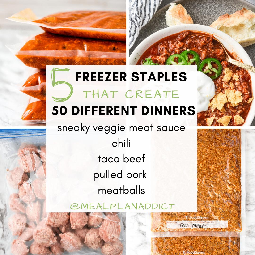 5 freezer meal staples 50 dinner ideas
