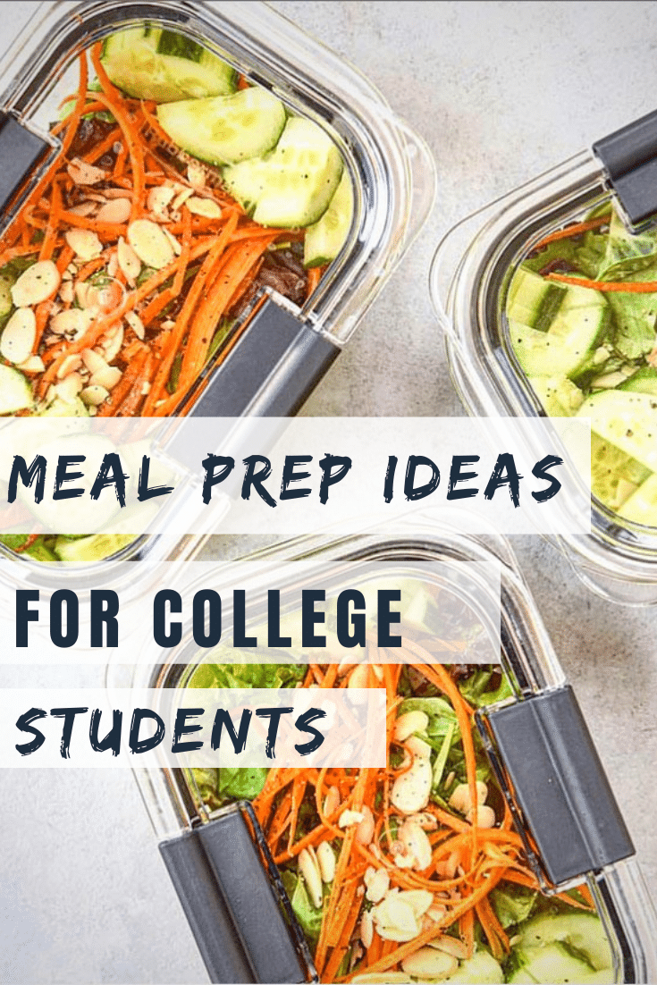 hero image with 3 meal prep salads for meal prep ideas for college students