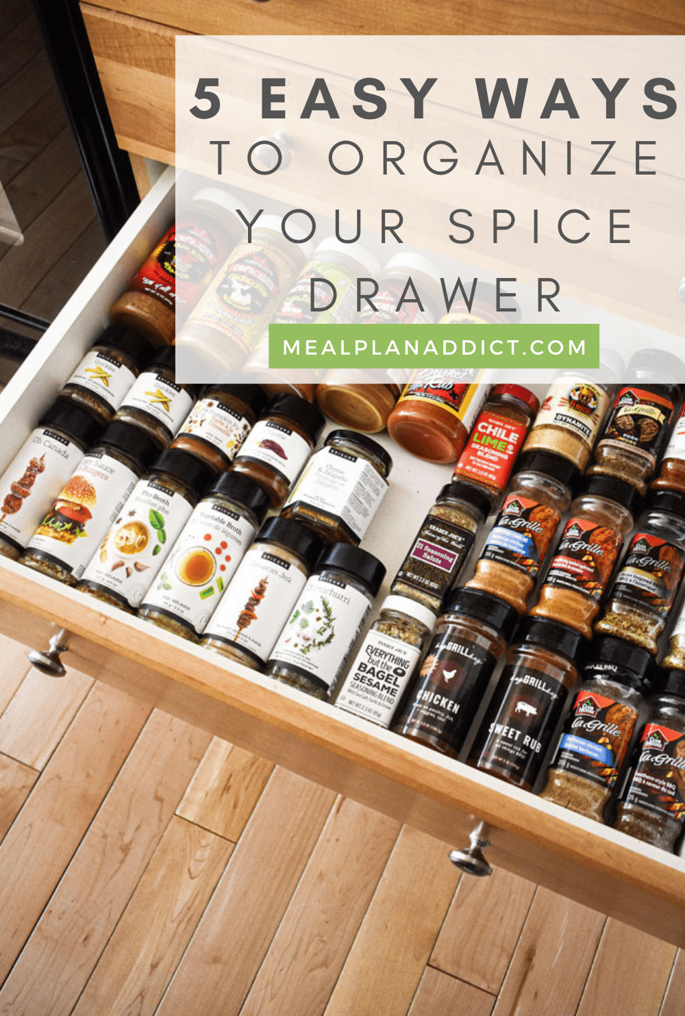 Spice drawer organization pin for Pinterest