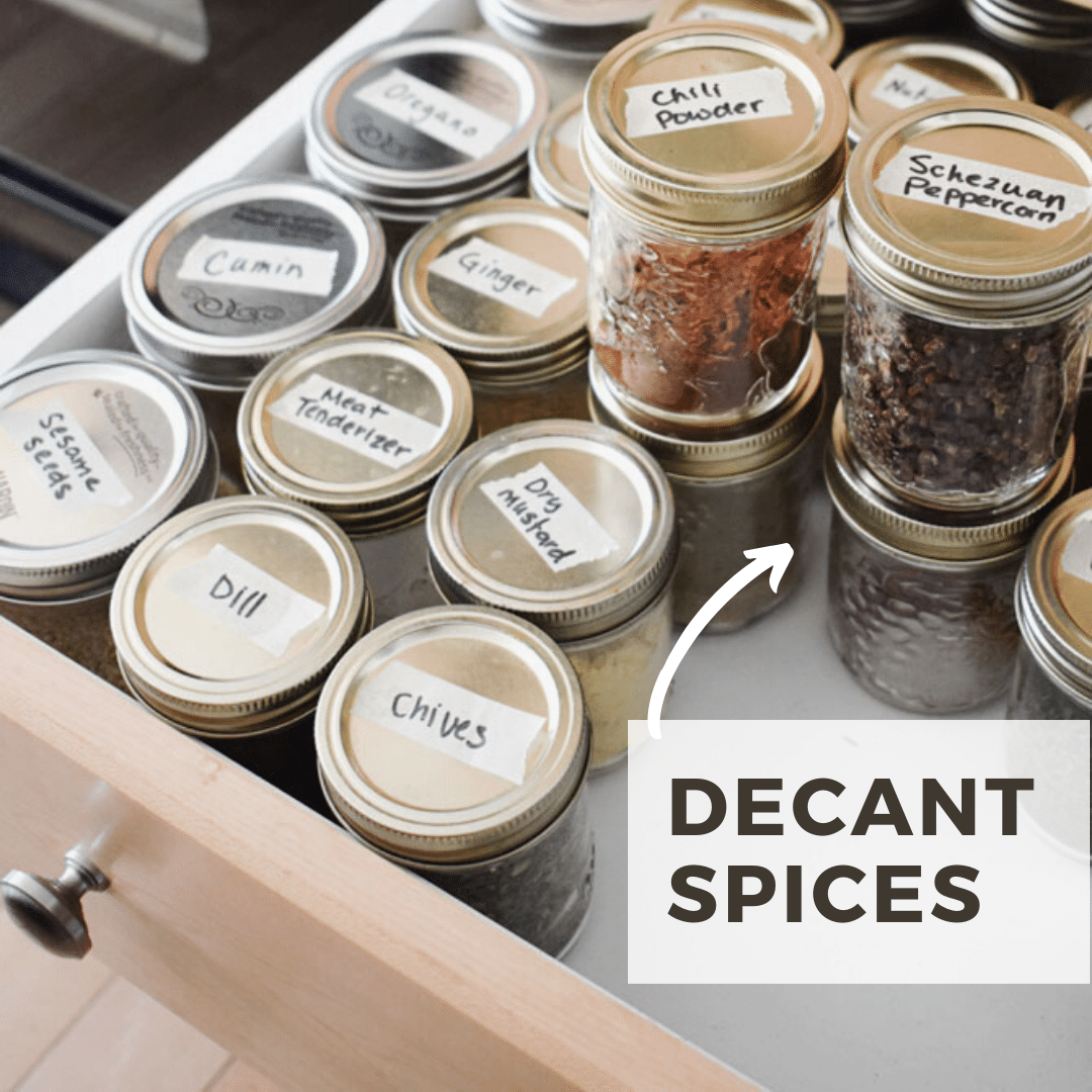 decanted spices in drawer