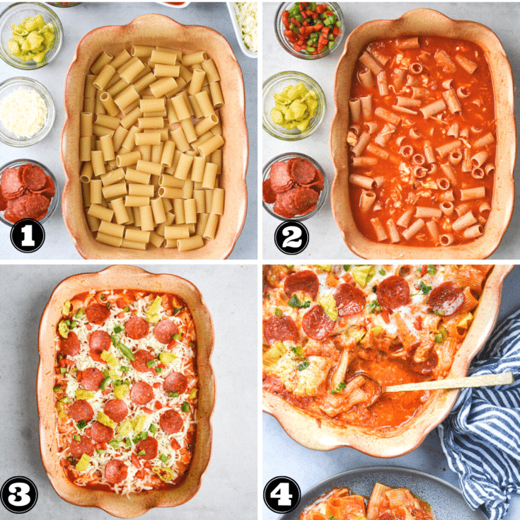 how to assemble pizza pasta bake