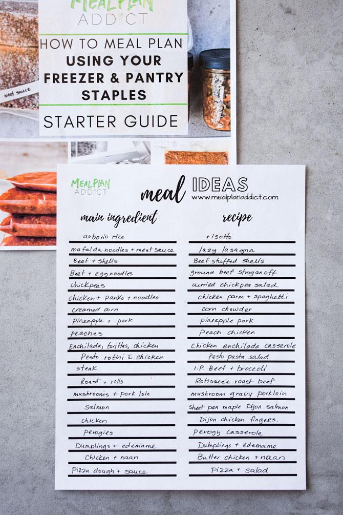 meal idea recipe list sample
