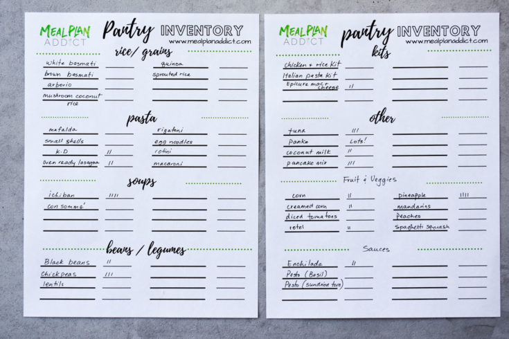 sample pantry inventory template