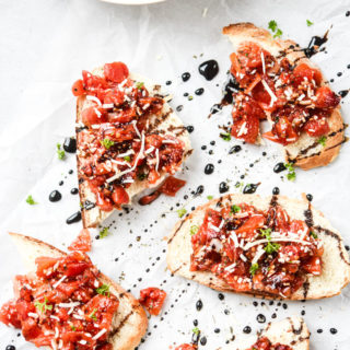bruschetta on bread drizzled with balsamic