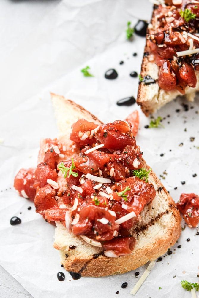 close up of bruschetta on slice of bread