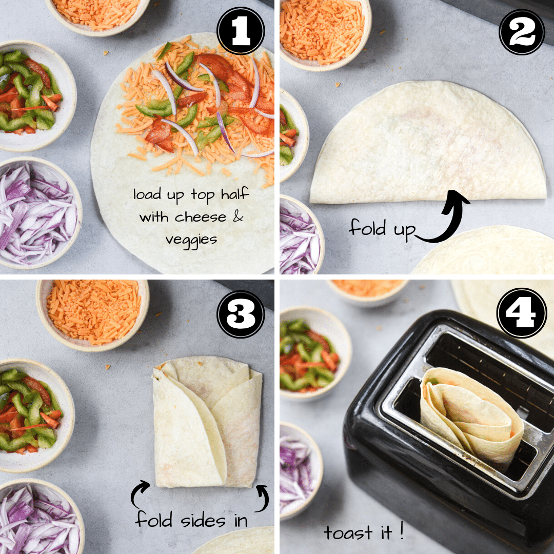 process for how to make toaster quesadillas