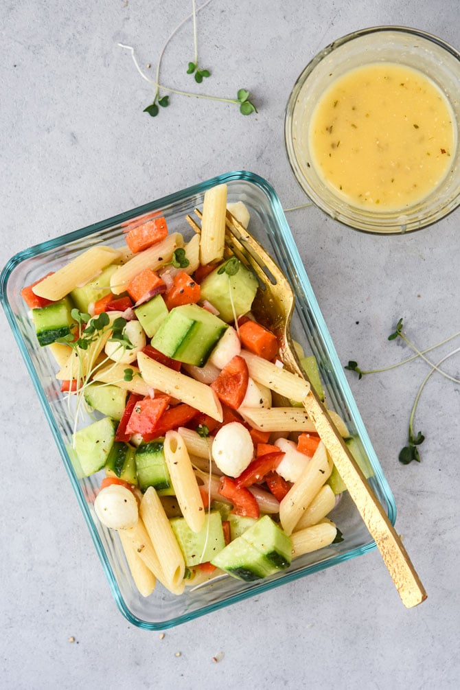 pasta salad in meal prep container