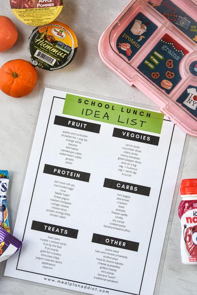 school lunch idea list sample sheet