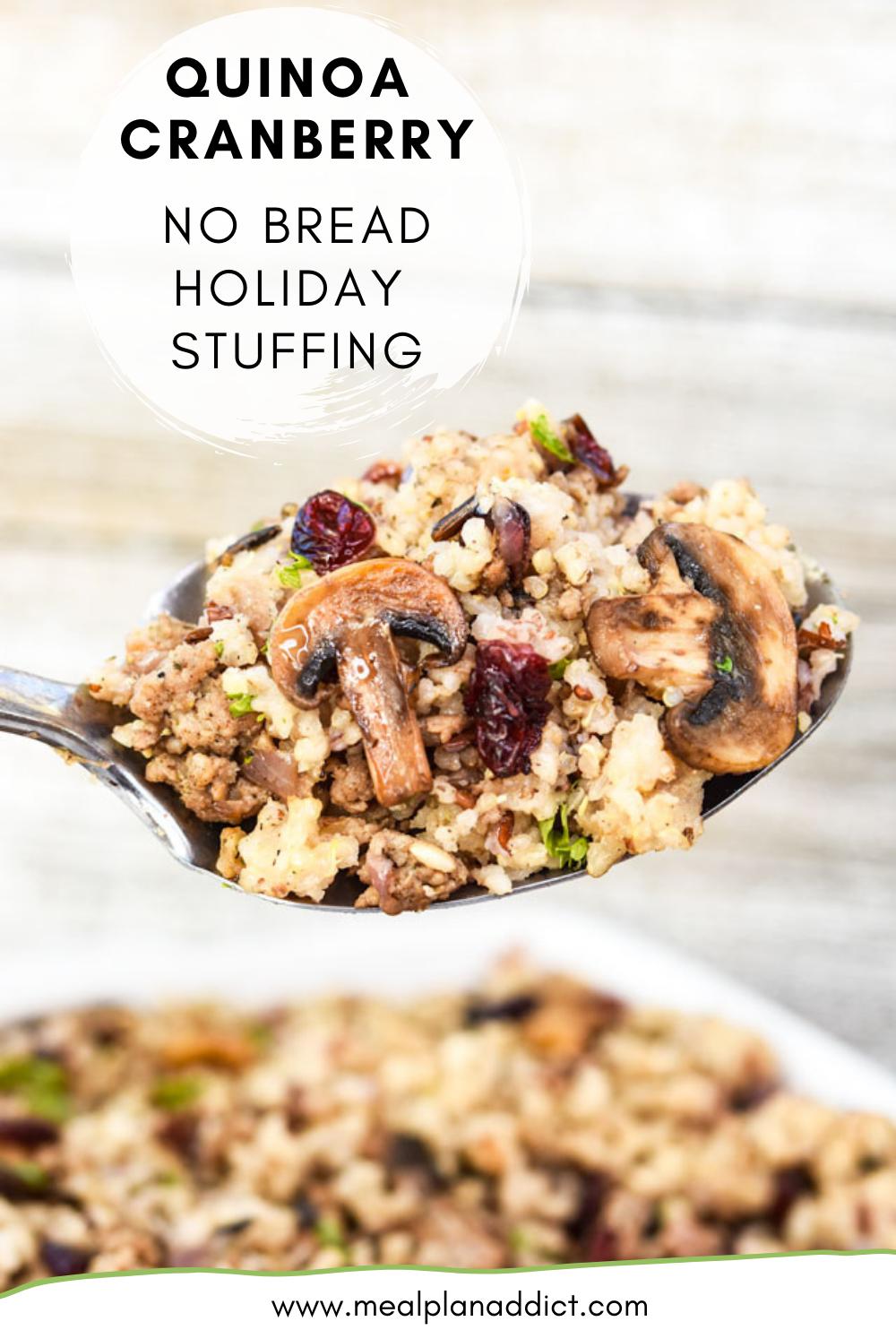 Quinoa Cranberry No Bread Holiday Stuffing
