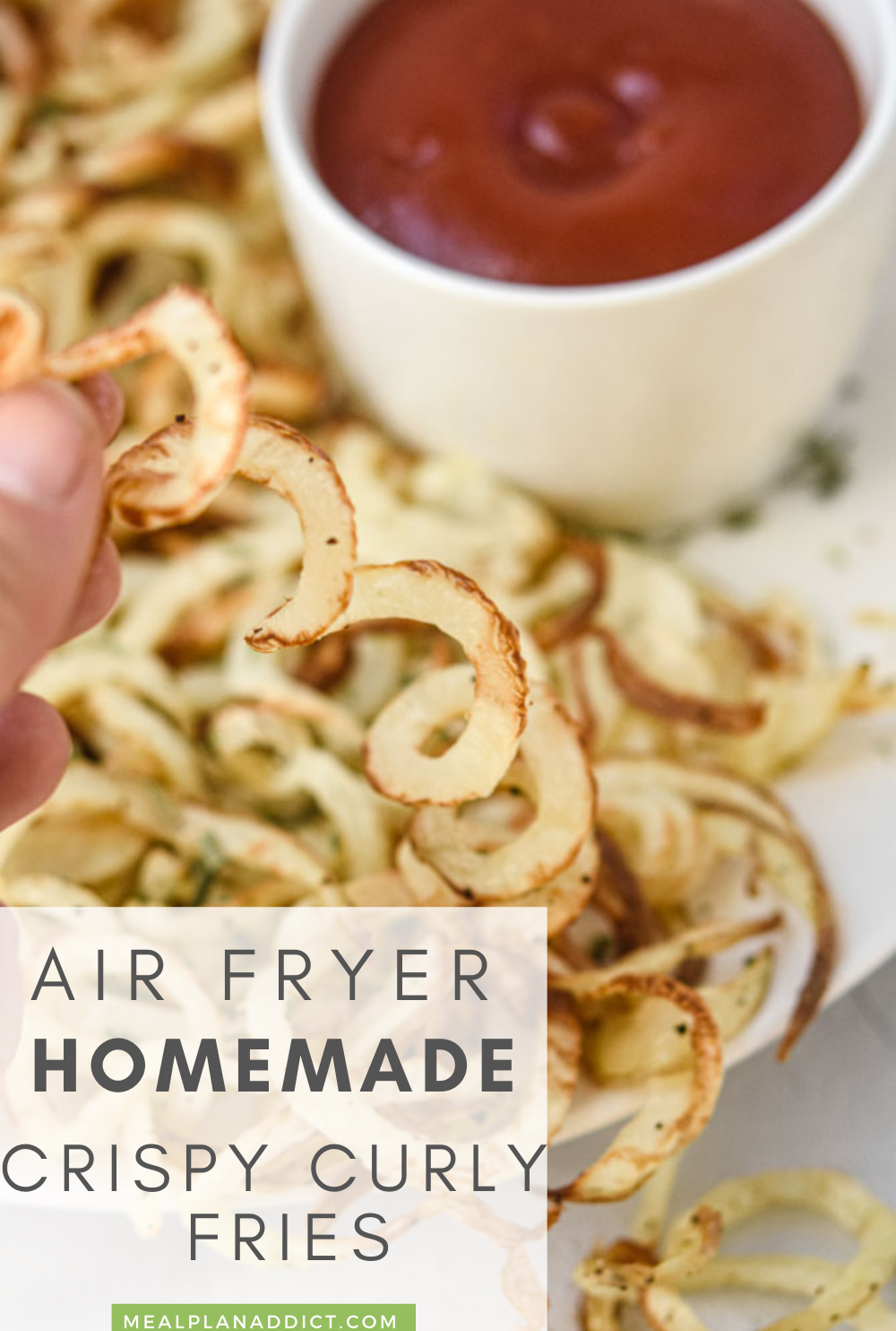 Crispy curly fries pin for Pinterest