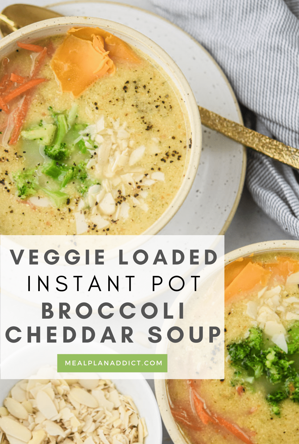 Broccoli Cheddar soup pin for Pinterest