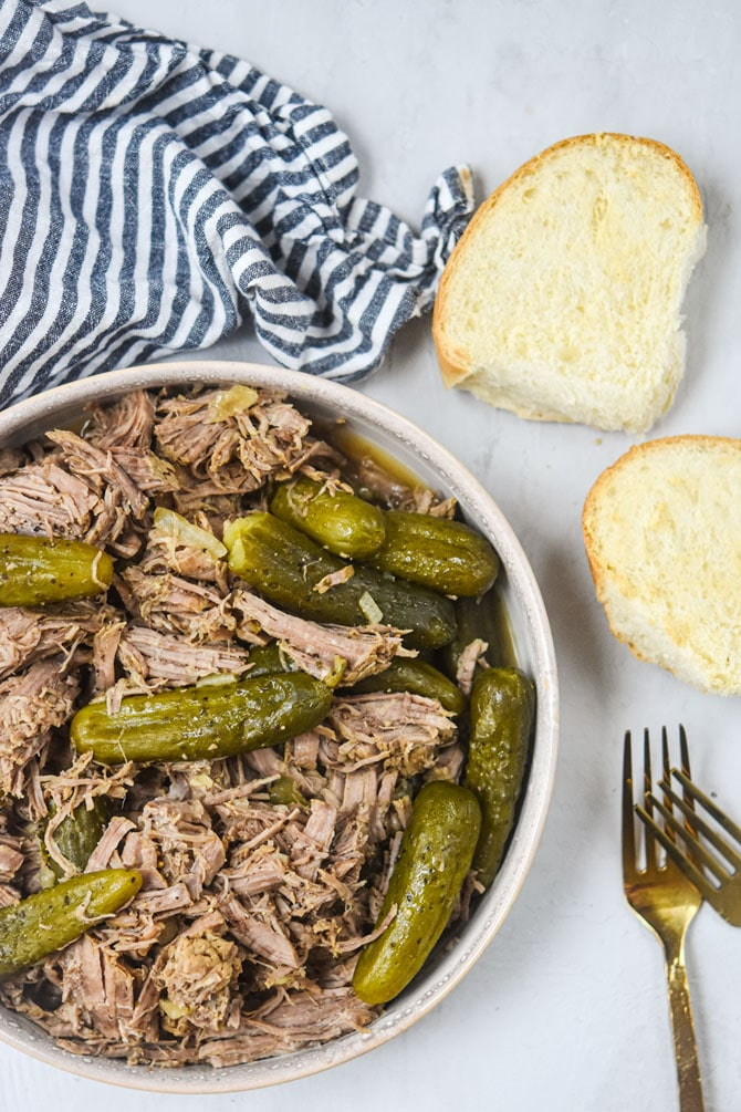 plated dill pickle beef