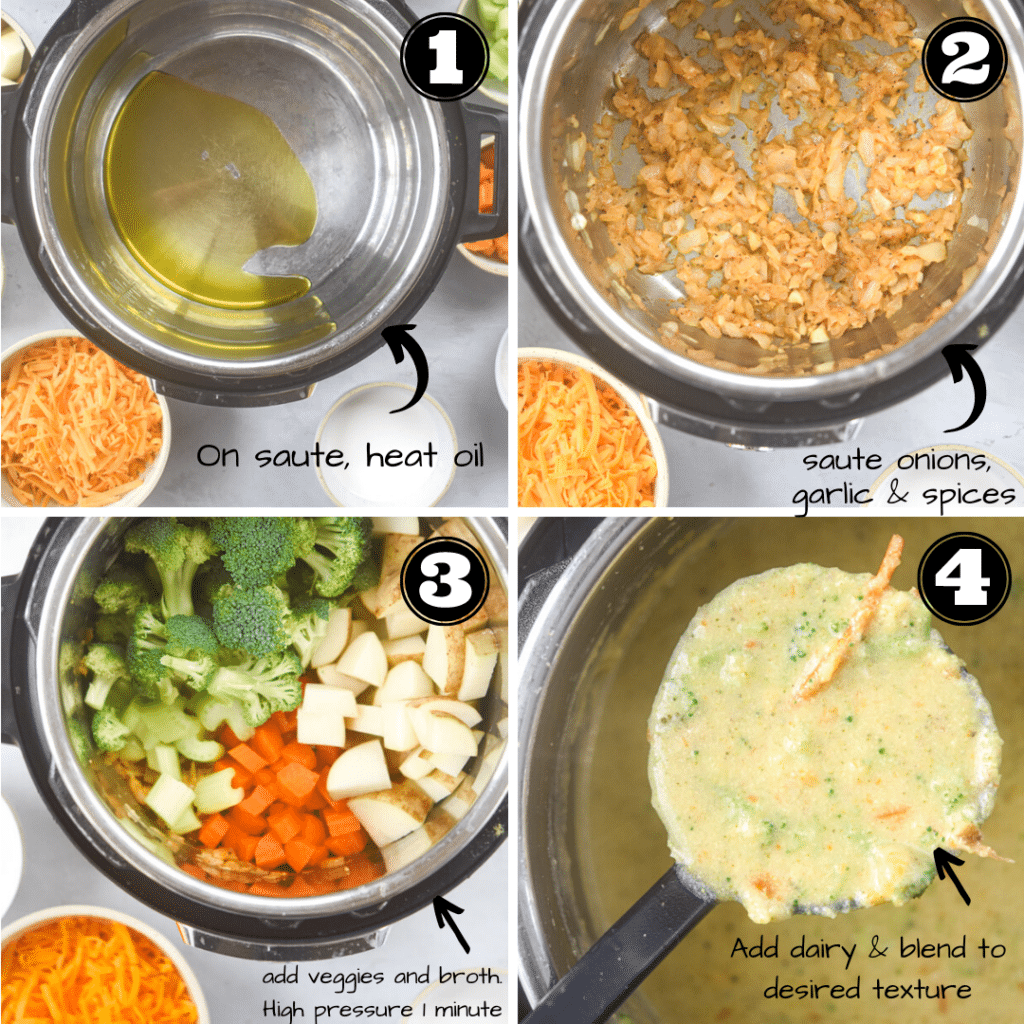 process for how to make broccoli cheddar soup