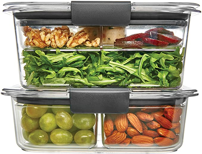 Rubbermaid Brilliance Container, Salad and Snack Lunch Combo Kit, 9 Piece Set