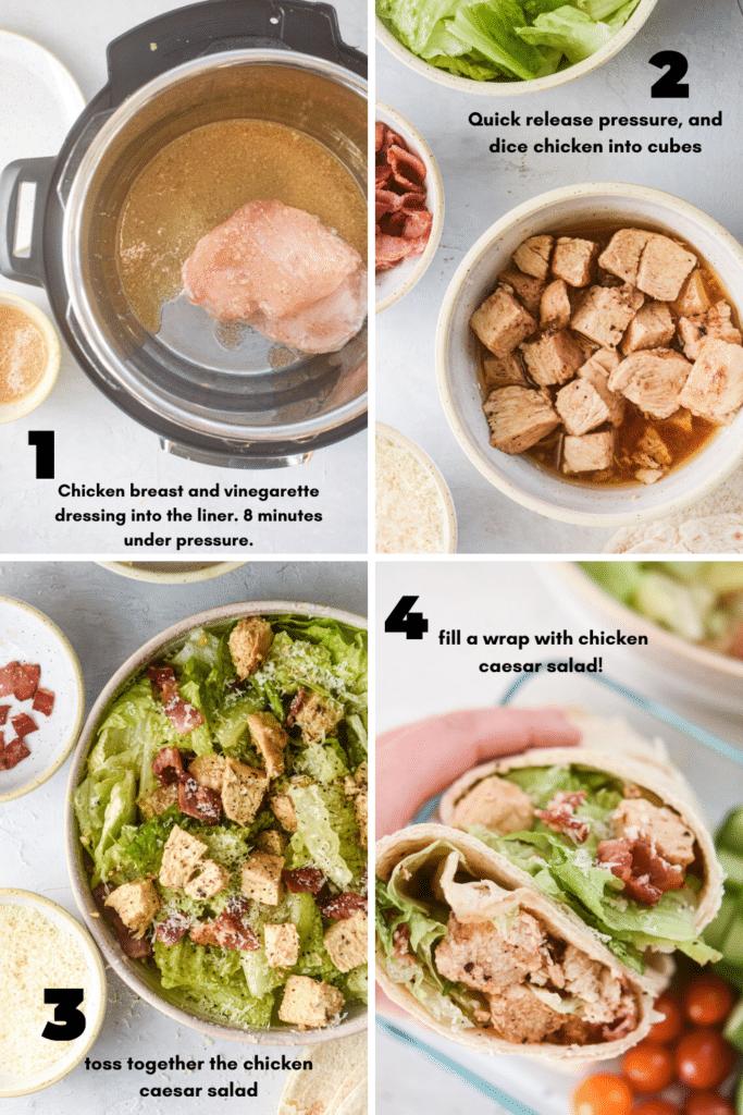 how to make instant pot chicken caesar salad wraps
