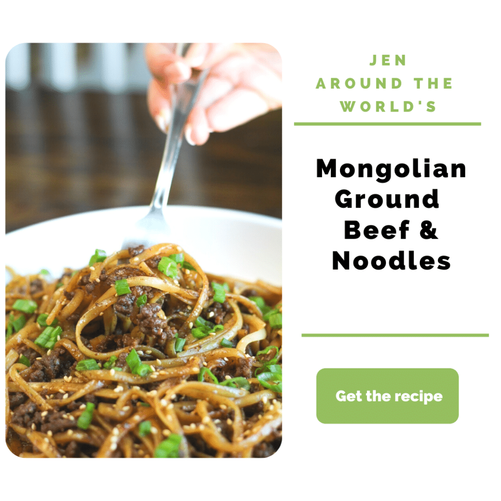 Ground Beef Dinner Ideas - mongolian beef and noodles