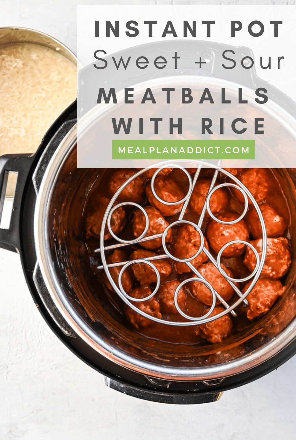 Meatballs with rice pin for Pinterest