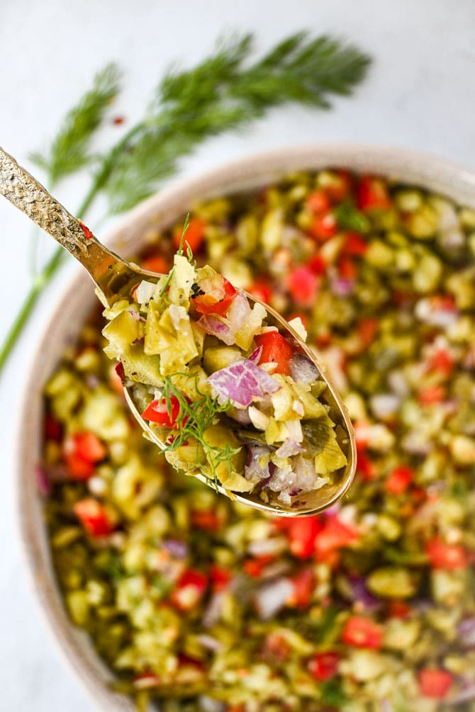 dill pickle salsa finished in a bowl