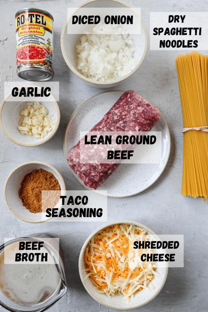 Instant pot taco pasta Ingredients