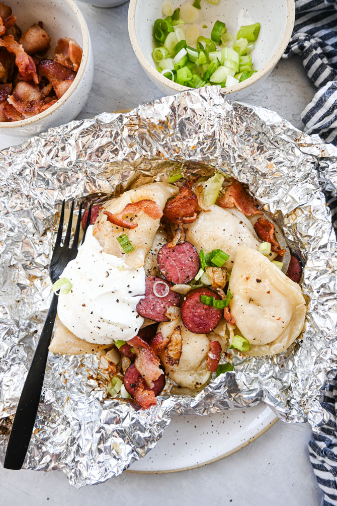 sausage perogy foil pack on plate
